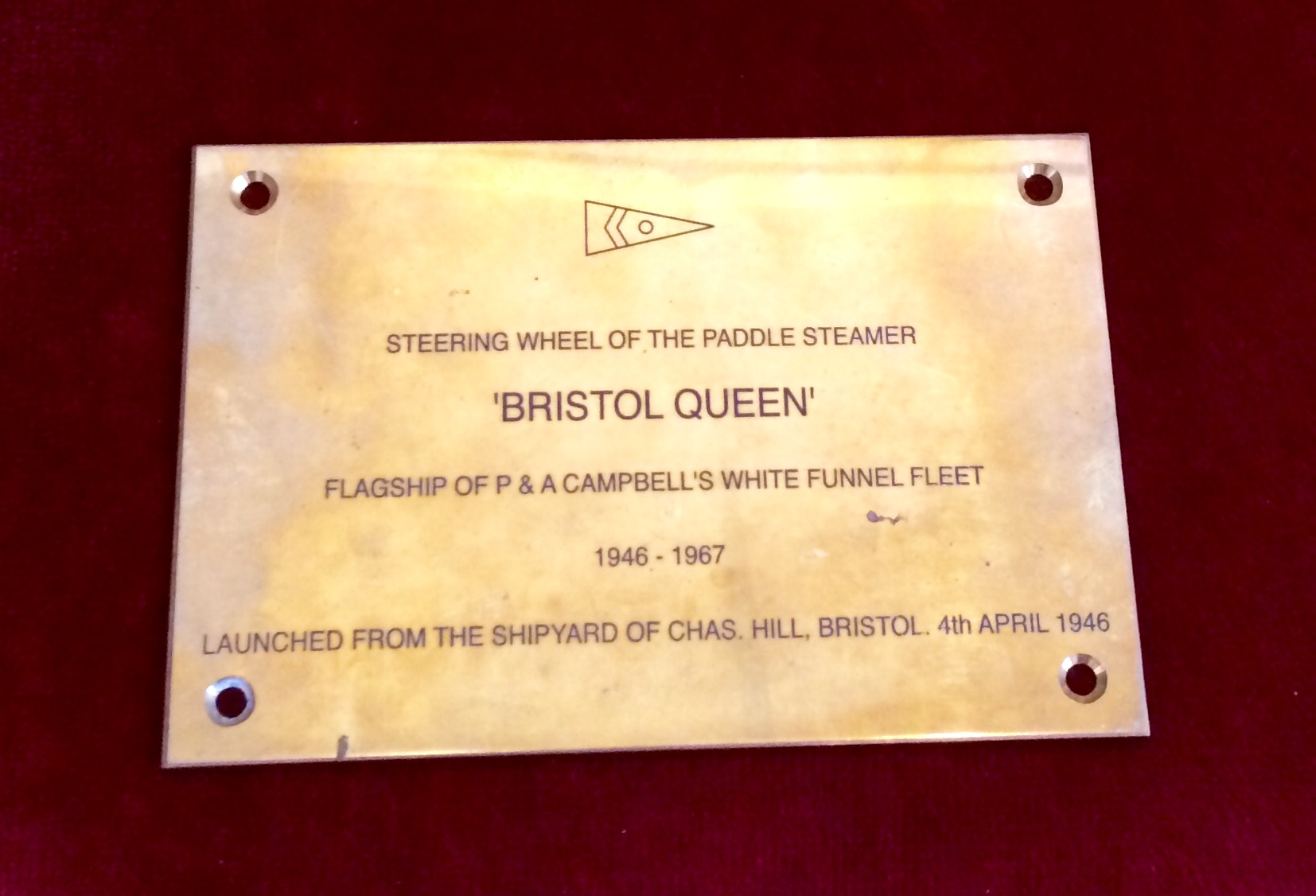 Bristol Queen Ships Wheel Plaque